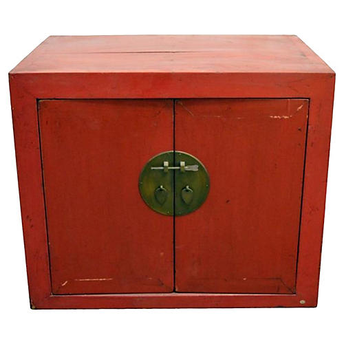 Antique Chinese Red Side Cabinet