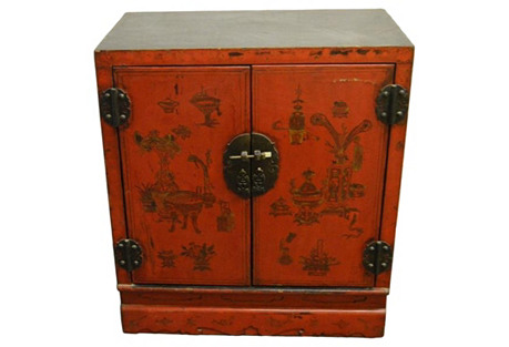 Antique Red Lacquered Chinese Nightstand