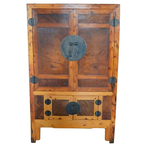 Antique Chinese Brown Lacquered Cabinet