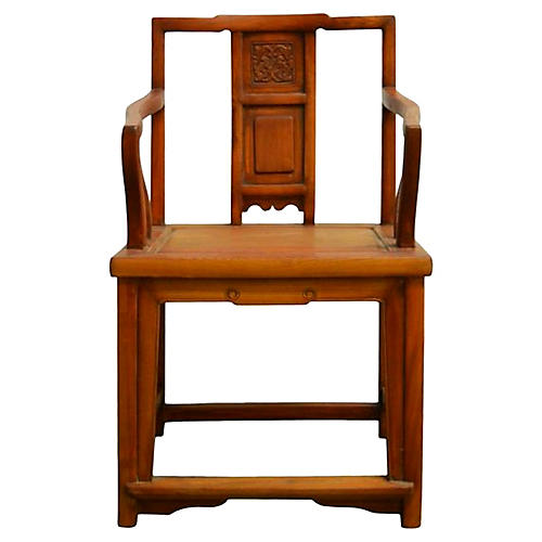 Antique Chinese Carved Elmwood Chair