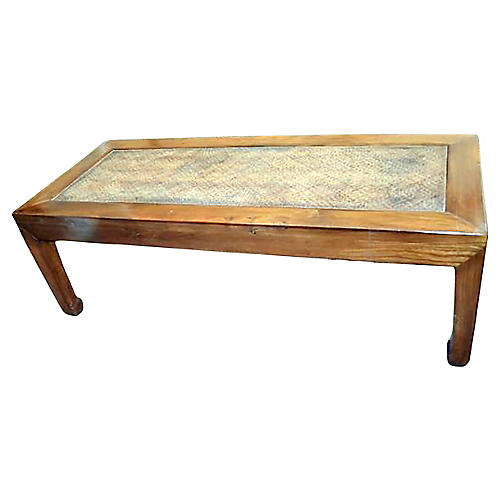 Antique Woven Elm Wood Coffee Table