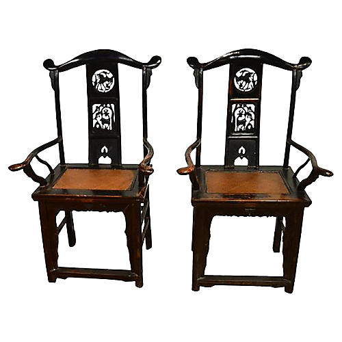 Antique Chinese Hand-Carved Chairs, Pair