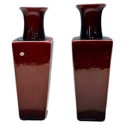 Chinese Oxblood Porcelain Vases, Pair