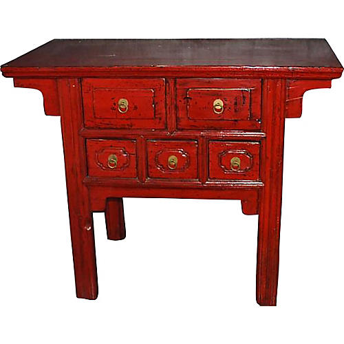 Antique Red Lacquered Altar Coffer