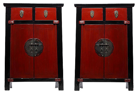 Antique Chinese Side Cabinets, Pair