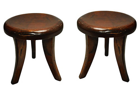 Indonesian Wood Stools, Pair