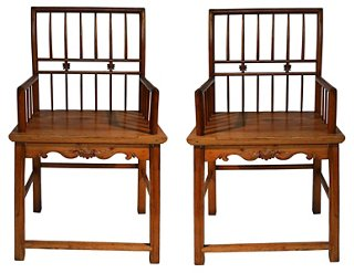 Antique Chinese Elm Wood Chairs, Pair   Dining Chair Sets   Dining Chairs    Dining Room   Furniture | One Kings Lane