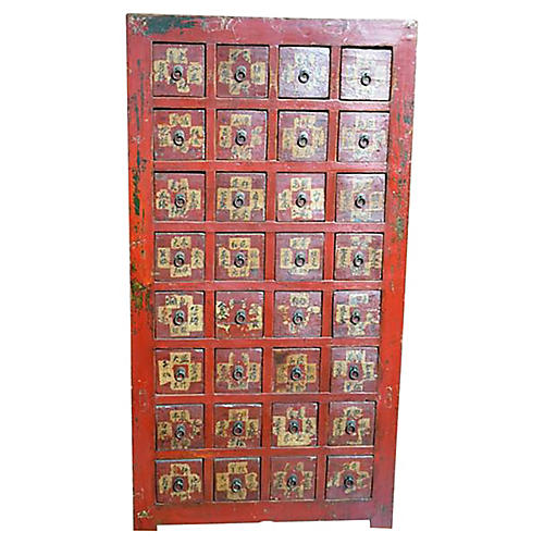 Antique Chinese Red Apothecary Chest