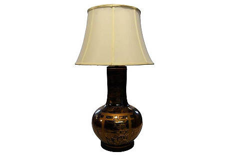 Chinese Black & Gold Lamp