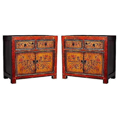 Antique Chinese Bedside Cabinets, Pair
