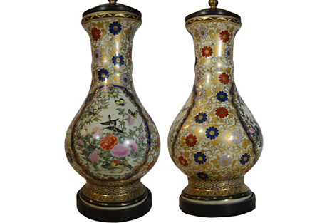 Chinese Hand-Painted Lamps, Pair