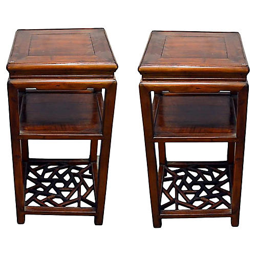 Antique Chinese Elmwood Tea Tables, Pair