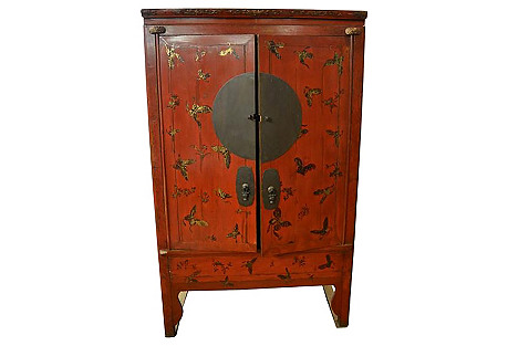 Antique Chinese Painted Wedding Cabinet