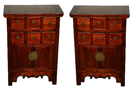 Narrow Apothecary Nightstands, Pair