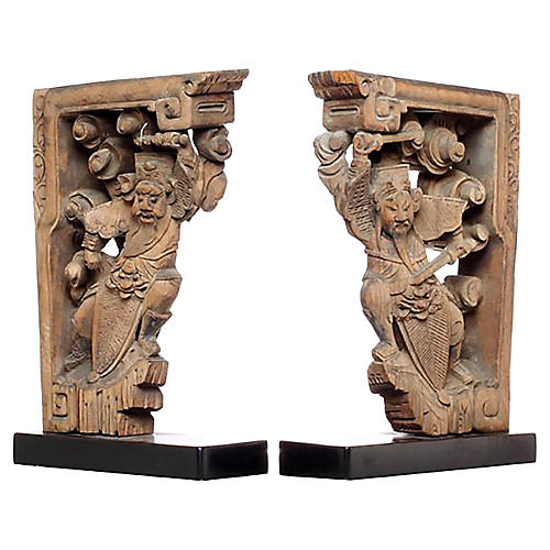 Hand-Carved Chinese Corbels, Pair