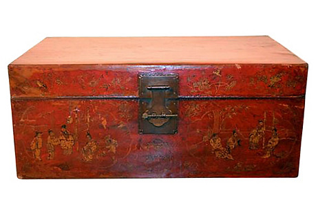 Antique Gilt Decorated Painted Trunk