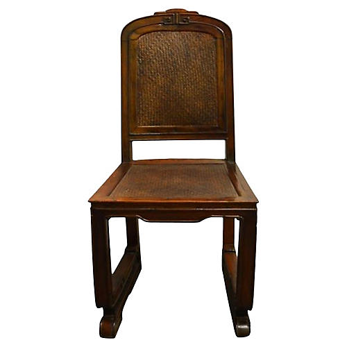 Antique Carved Wood School Chair