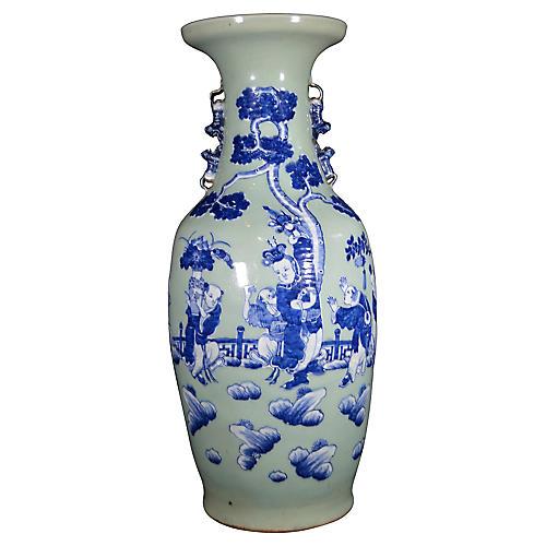 Antique Blue/White Hand-Painted Vase