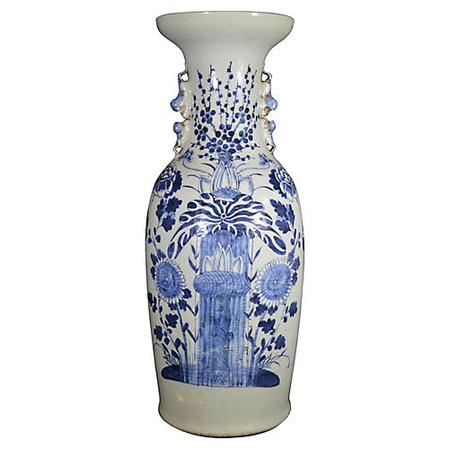 Antique Chinese Hand-Painted b/w Vase