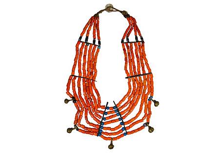 Antique Tibetan Naga Glass Necklace