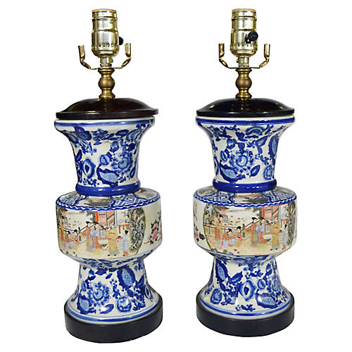 Blue & White Lamps, Pair