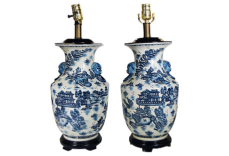 Chinese Painted Blue & White Lamps, Pair