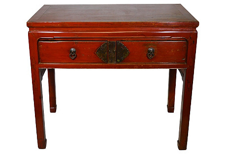 Antique Red Lacquered Desk