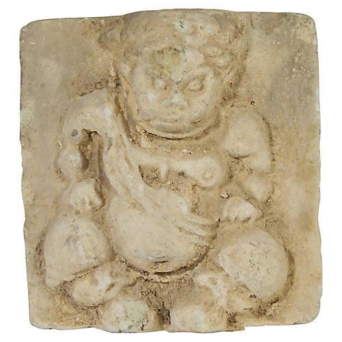 Antique Thai Bas-Relief Temple Stone