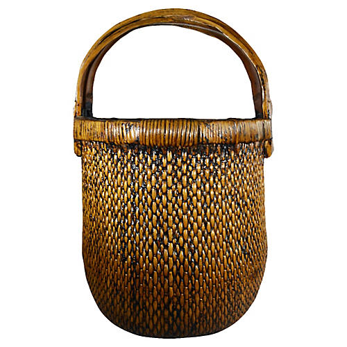 Antique Handwoven Grain Basket