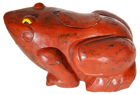 Hand-Carved Red Frog Box