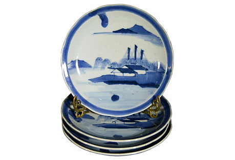 Antique Blue & White Plates, S/4