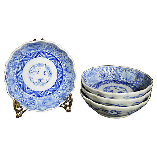 Antique Blue & White Bowls, S/4