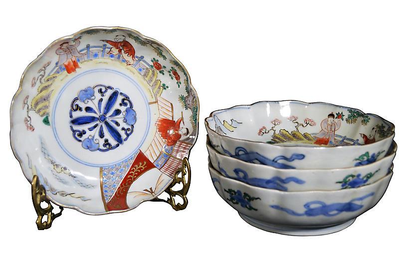 Antique Hand-Painted Imari Bowls, S/4