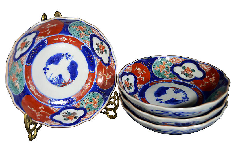 Antique Hand-Painted Imari Bowls, S/4