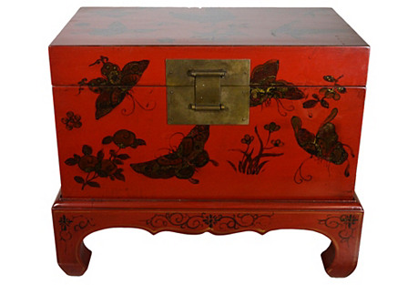 Antique Hand-Painted Butterfly Dowry Box
