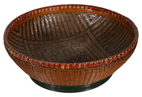 Antique Chinese Handwoven Fruit Basket