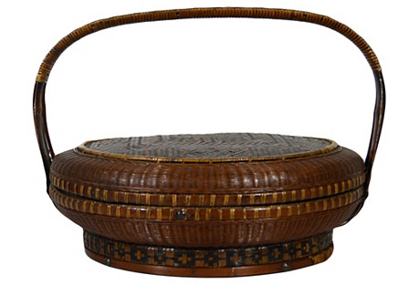 Antique Chinese Handwoven Basket