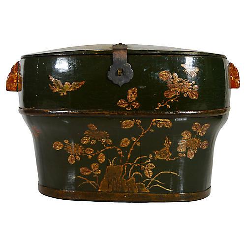 Antique Chinese Painted Wedding Basket