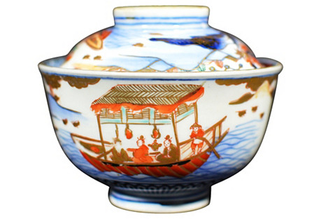 Hand-Painted Imari Bowl w/ Cover