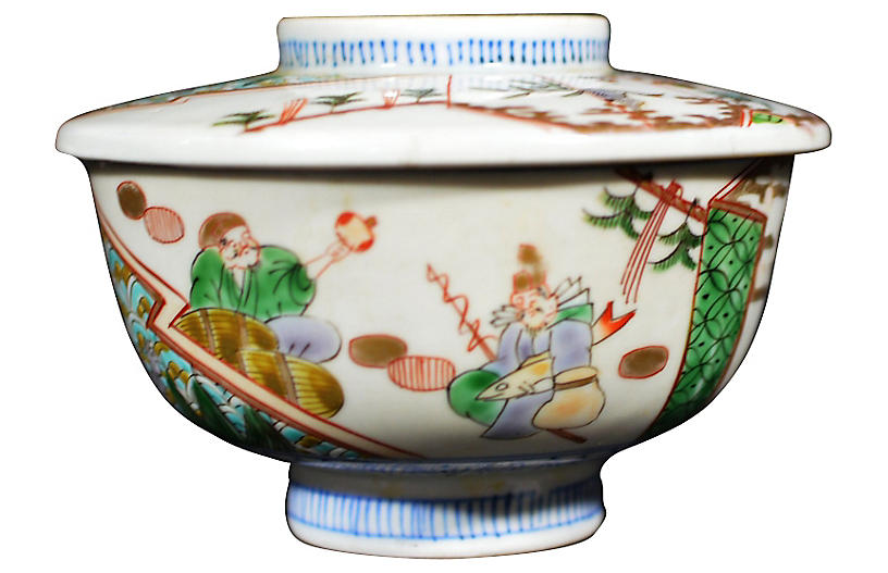 Antique Famille Verte Bowl w/ Cover