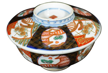 Antique Japanese Imari Bowl w/ Cover