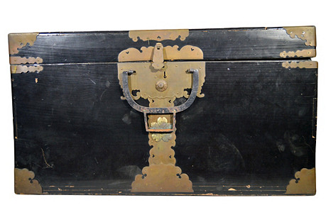 Antique Lacquered Black Trunk