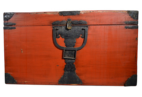 Antique Japanese Lacquered Red Trunk