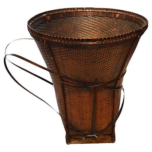 Handwoven Rattan Farmer's Basket