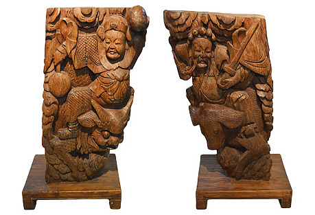 Antique Chinese Hand-Carved Corbels, S/2