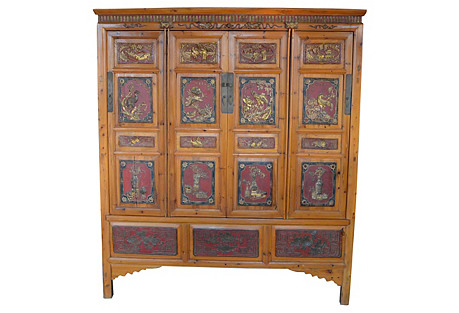 Large Chinese Cabinet w/ Carved Insets