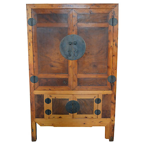 Chinese Cabinet w/ Inset Burl Panels