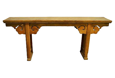 Long Hand-Carved Natural Altar Table