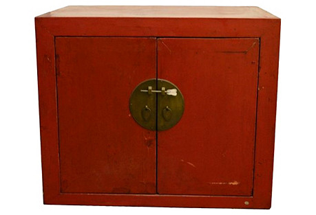 Antique Chinese Red Lacquer Cabinet