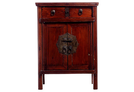 Antique Elm Wood Chinese Side Cabinet